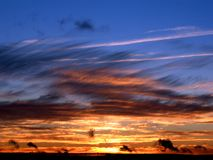 Puesta del sol azul Imágenes de archivo libres de regalías