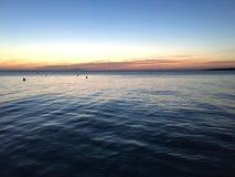 Puesta del sol azul hermosa Imagen de archivo