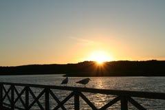 Puesta del sol báltica de la costa Foto de archivo