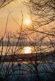 Puesta del sol del balkon de Altonaer fotos de archivo libres de regalías