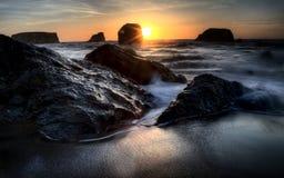 Puesta del sol Bandon Oregon Fotografía de archivo