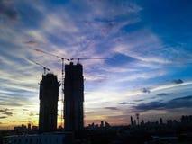 Puesta del sol Bangkok del paisaje urbano Fotografía de archivo libre de regalías