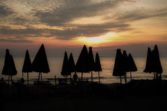 Puesta del sol, barco, crepúsculo Imagen de archivo libre de regalías
