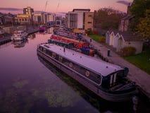 Puesta del sol del barco de canal de Edimburgo Fotos de archivo libres de regalías