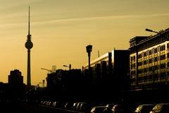 Puesta del sol Berlín imagenes de archivo