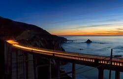 puesta del sol bixby del puente Foto de archivo