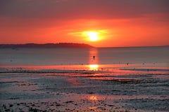 Puesta del sol bouy Foto de archivo libre de regalías