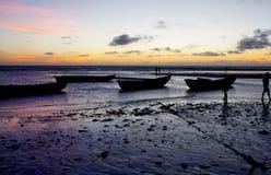 Puesta del sol brasileña de la playa Imágenes de archivo libres de regalías