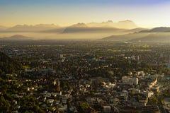 Puesta del sol Bregenz Imagen de archivo libre de regalías