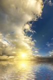 Puesta del sol brillante de la ciudad Fotografía de archivo libre de regalías