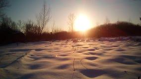 Puesta del sol brillante en parque del invierno Fotos de archivo libres de regalías