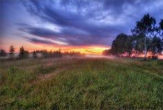 Puesta del sol brumosa en Russia-3 Imagen de archivo