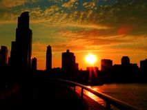 Puesta del sol céntrica de Chicago Fotografía de archivo