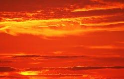 Puesta del sol caliente del fuego Foto de archivo libre de regalías