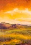 Puesta del sol caliente en fondo artístico de la pintura de las montañas Imagenes de archivo