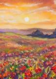 Puesta del sol caliente en fondo artístico de la pintura de las montañas Foto de archivo libre de regalías