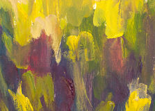 Puesta del sol caliente en fondo artístico de la pintura de las montañas Fotos de archivo libres de regalías