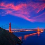 Puesta del sol California de San Francisco de puente Golden Gate Foto de archivo