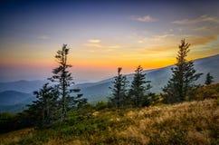 Puesta del sol calva redonda, Roan Mountain State Park Foto de archivo libre de regalías