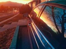 Puesta del sol candente fotografía de archivo