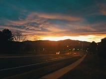 Puesta del sol del cc Foto de archivo libre de regalías