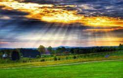 Puesta del sol celeste Fotografía de archivo