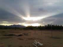 Puesta del sol celeste fotografía de archivo libre de regalías