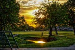 Puesta del sol centenaria del parque Foto de archivo libre de regalías