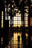 Puesta del sol, centro financiero de mundo Imagen de archivo libre de regalías