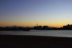 Puesta del sol cerca de Hurghada Foto de archivo