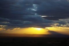 Puesta del sol cerca de Littlefield, Arizona Foto de archivo libre de regalías