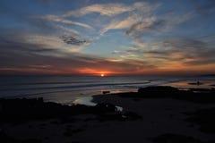 Puesta del sol cerca de Oeiras Foto de archivo