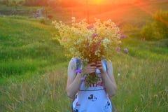 Puesta del sol Chica Imagen de archivo