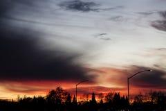 Puesta del sol del cielo nublado con las lámparas y los árboles de calle Fotos de archivo libres de regalías
