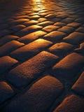 Puesta del sol Cobbled fotografía de archivo libre de regalías