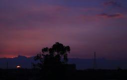 Puesta del sol colombiana Fotos de archivo