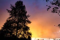 Puesta del sol colorida Imagen de archivo libre de regalías
