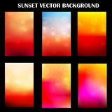 Puesta del sol colorida abstracta con la plantilla ligera para el fondo de la presentación Foto de archivo libre de regalías