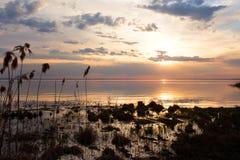 Puesta del sol colorida en el lago Fotos de archivo libres de regalías