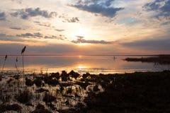 Puesta del sol colorida en el lago Imagen de archivo