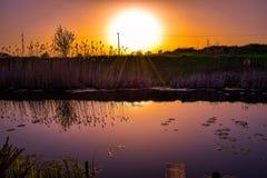 Puesta del sol colorida hermosa imagenes de archivo
