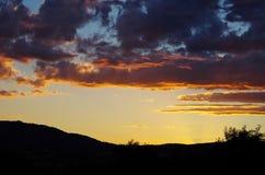 Puesta del sol colorida imponente Foto de archivo