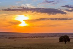 Puesta del sol colorida nublada sobre las colinas y los árboles, fotos de archivo libres de regalías