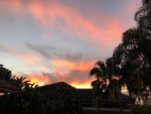 puesta del sol colorida tropical en casa en patio trasero Fotografía de archivo libre de regalías