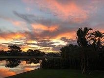puesta del sol colorida tropical en casa en patio trasero Imágenes de archivo libres de regalías