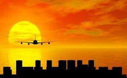 Puesta del sol con el aeroplano Imagenes de archivo