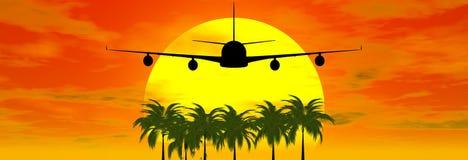 Puesta del sol con el aeroplano Fotografía de archivo libre de regalías