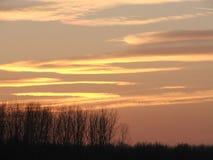 Puesta del sol con el bosque y las nubes Foto de archivo libre de regalías
