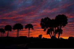 Puesta del sol con el cielo rojo Imagenes de archivo