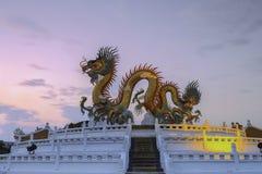 puesta del sol con el dragón grande en el Nakhon Sawan provincial Tailandia Foto de archivo libre de regalías